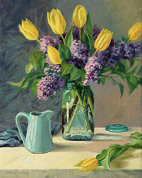 Ideal - Yellow Tulips and Lilacs in a Blue Mason Jar by Bonnie Mason