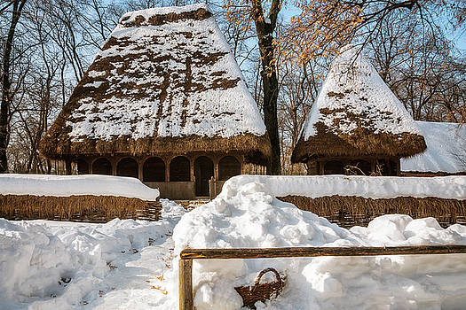 Idyllic winter postcard from the old times by Daniela Constantinescu