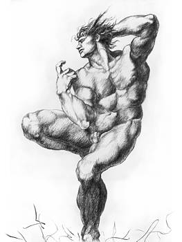 Ignudo 2 After Michelangelo by Richard Claraval