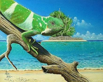 Iguana At Beach by Pravin  Sen