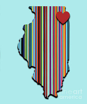 Illinois with love geometric map by Carla Bank