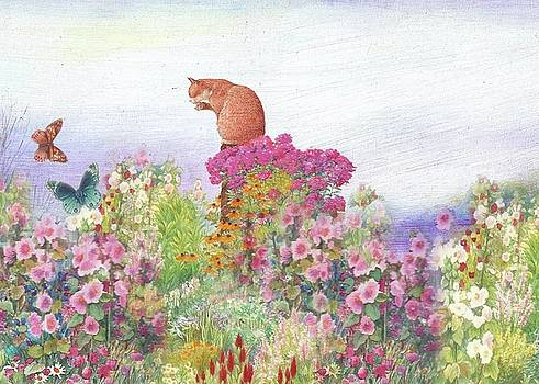 Illustrated Cat in Garden by Judith Cheng