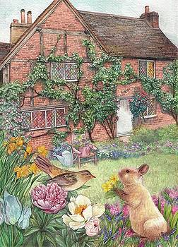 Illustrated English cottage with bunny and bird by Judith Cheng