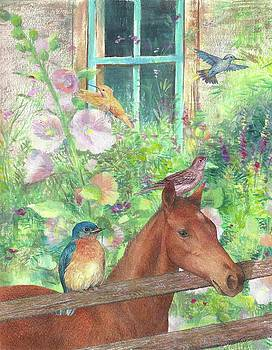 Illustrated Horse and Birds in Garden by Judith Cheng