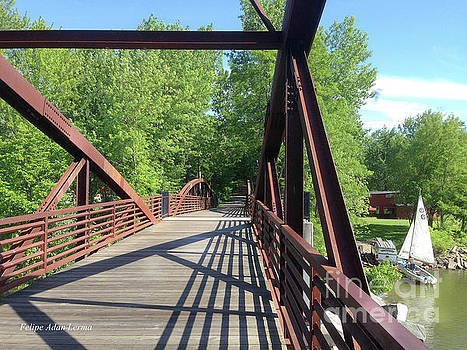 Image Included in Queen the Novel - Bike Path Bridge Over Winooski River with Sailboat 22of74 by Felipe Adan Lerma