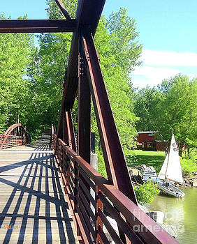 Image Included in Queen the Novel - Bike Path Bridge Over Winooski River with Sailboat Vertical by Felipe Adan Lerma