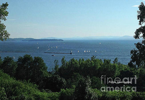 Felipe Adan Lerma - Image Included in Queen the Novel - Sailboats by Lake Champlain Lighthouse Enhanced