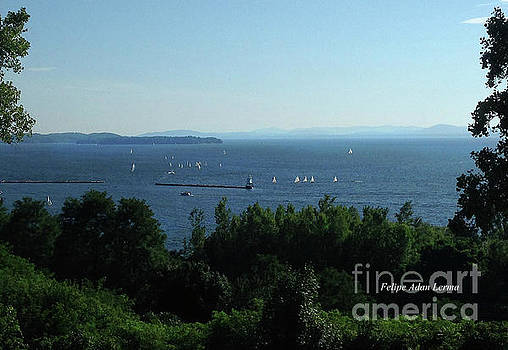 Felipe Adan Lerma - Image Included in Queen the Novel - Sailboats by Lake Champlain Lighthouse