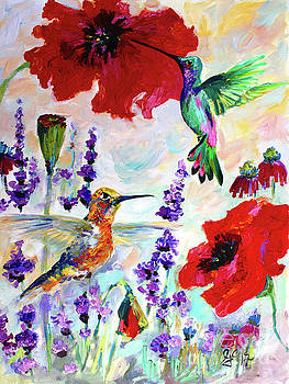 Impressionist Hummingbirds on Red Poppies and Lavender  by Ginette Callaway