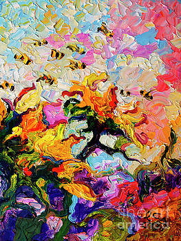 Ginette Callaway - Impressionist Sunflowers and Bees