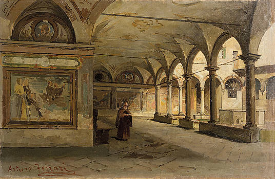 In the ancient cloister by Arturo Ferrari