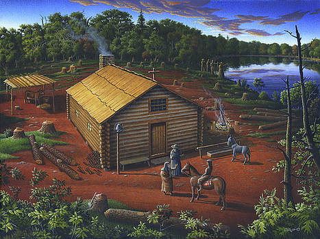 In The Beginning - University of Notre Dame Chapel - Indian Chapel - Log Cabin Landscape Painting by Walt Curlee
