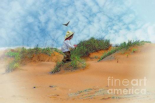 In The Dunes With A Hummingbird by John Kolenberg