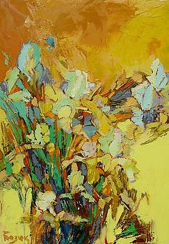 In the garden of the blooming irises A talk with the old friend What a reward to a traveller. by Oleh Bezyuk