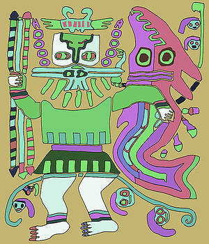 Inca Tribal Warrior with Serpent by Vagabond Folk Art - Virginia Vivier