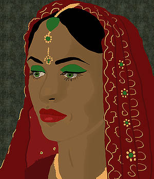 Indian Bride in Red by Kate Farrant
