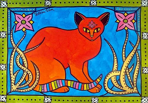 Indian cat with Lilies by Dora Hathazi Mendes