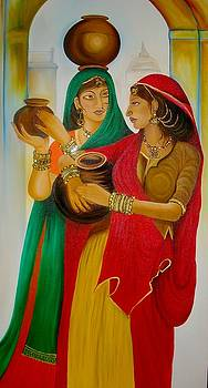 Xafira Mendonsa - Indian Ladies carrying Water Pots