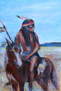 Indian on horseback by Denice Palanuk Wilson