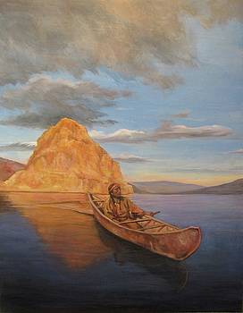 Indian on Lake Pyramid by Donna Tucker