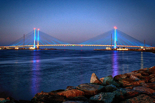 Indian River Inlet Bridge Twilight by Bill Swartwout