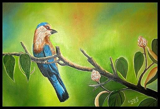Indian Roller or Blue Jay by Usha Rai
