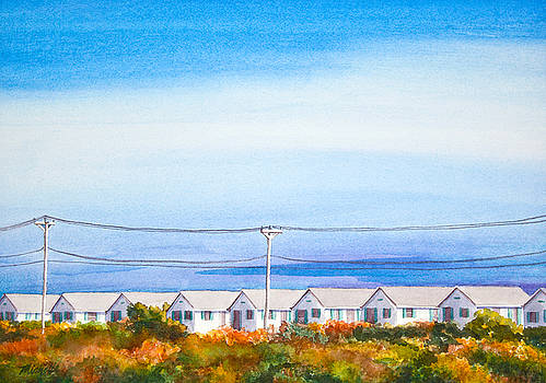 Indian Summer Days Cottages North Truro Massachusetts Watercolor Painting by Michelle Constantine