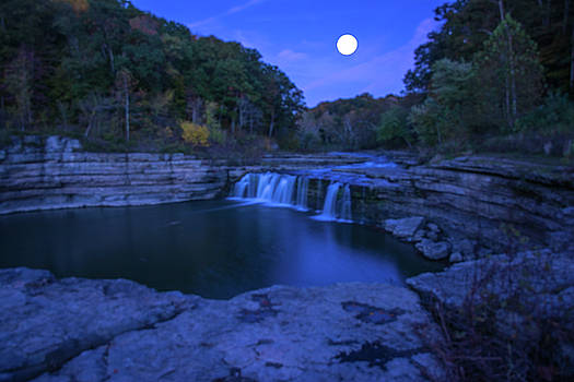 Indian swimming hole moon by Randall Branham