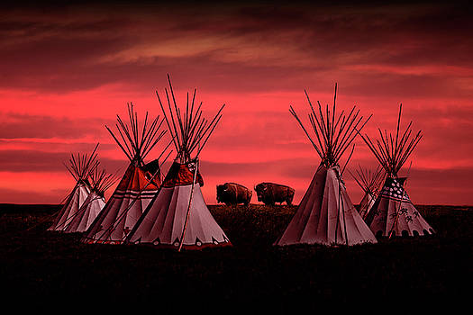 Randall Nyhof - Indian Tepees at Sunset with American Bison
