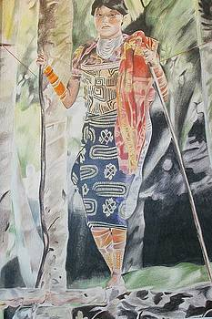 Indian Woman at Campsite by Bennie Parker