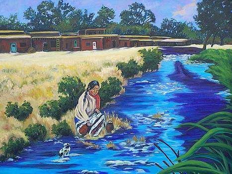 Indian Woman At The Watering Hole by Donna Drake