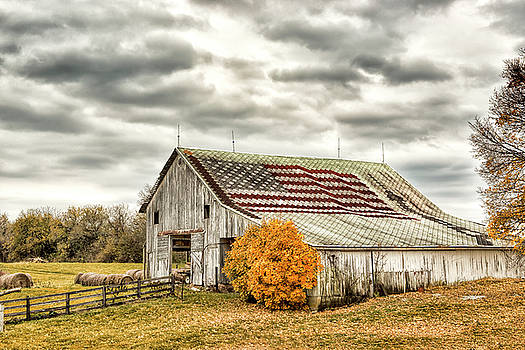 Indiana Flag Barn with Missle by Donna Caplinger