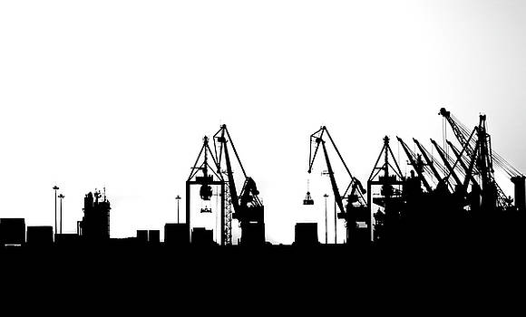 Industrial Silhouette in BW by Nikos Stavrakas