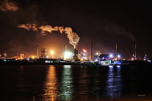 Industry By Night Wollongong NSW Australia by Cheryl Hall