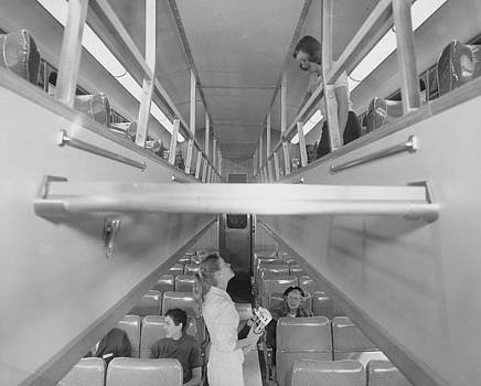 Chicago and North Western Historical Society - Inside 700 Bilevel Train - 1958