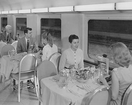Chicago and North Western Historical Society - Inside Dining Car Rebuilt for Bilevel Coach - 1958