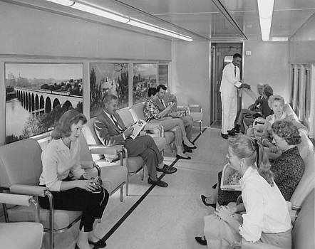Chicago and North Western Historical Society - Inside Luggage Car - 1958