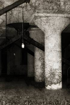 Gothicrow Images - Inside Empty Dark Building With Light Bulbs Lit
