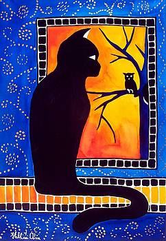 Insomnia - Cat and Owl Art by Dora Hathazi Mendes by Dora Hathazi Mendes