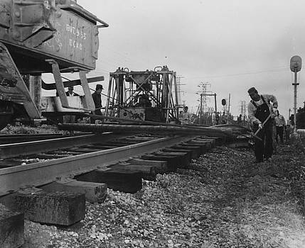 Chicago and North Western Historical Society - Laborers Work on Track - 1957