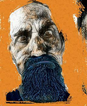 Intense portrait bulging eyes blue beard orange and sketch painting vibrant vivid expression beast friendly by MendyZ