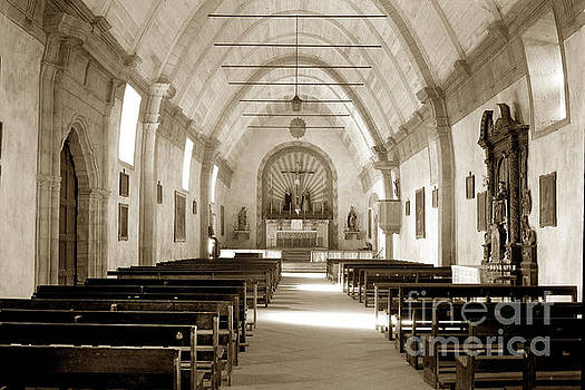 California Views Mr Pat Hathaway Archives - Interior Carmel Mission Chapel looking towards the altar Circa 1937