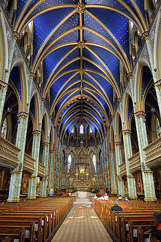 Interior nave of Notre Dame Roman Catholic Cathedral Basilica in by Reimar Gaertner