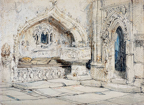 Louis Haghe -  Interior of a Church with a Wall Tomb and Medieval Font