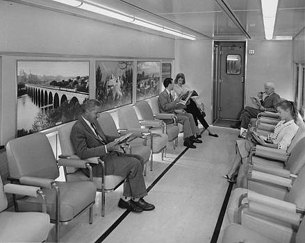 Chicago and North Western Historical Society - Interior of Lounge Car - 1958