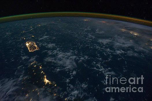 R Muirhead Art - International Space Station night image Eastern Caribbean region Santo Domingo Dominican Republic