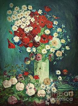 Interpretation of Van Gogh still life with meadow flowers and roses by Amalia Suruceanu