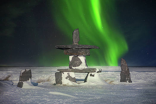 Inukshuk and the Northern Lights by Cheryl Ramalho