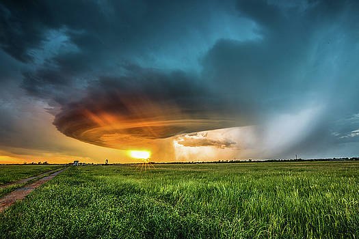 Invasion - Storm Illuminated by Sunset in Oklahoma by Sean Ramsey