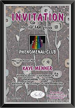 Invitation to Phenomenal Club FAA by Kaye Menner